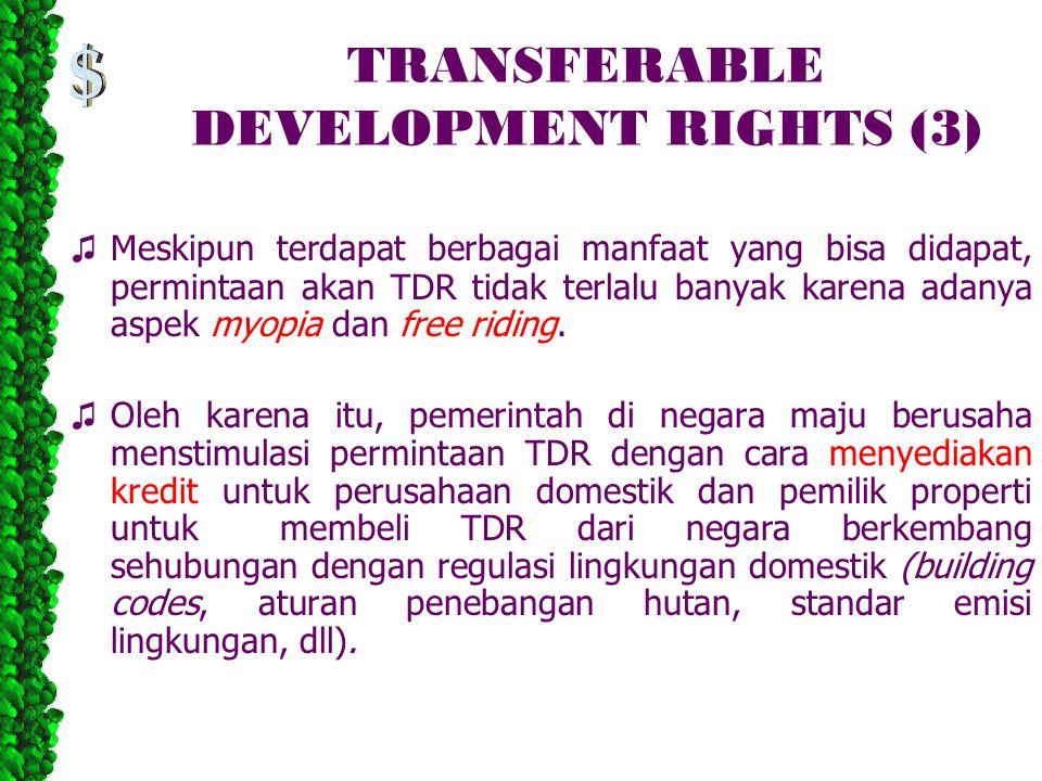 TRANSFERABLE DEVELOPMENT RIGHTS (3) ♫ Meskipun terdapat berbagai manfaat yang bisa didapat, permintaan akan TDR tidak terlalu banyak karena adanya asp