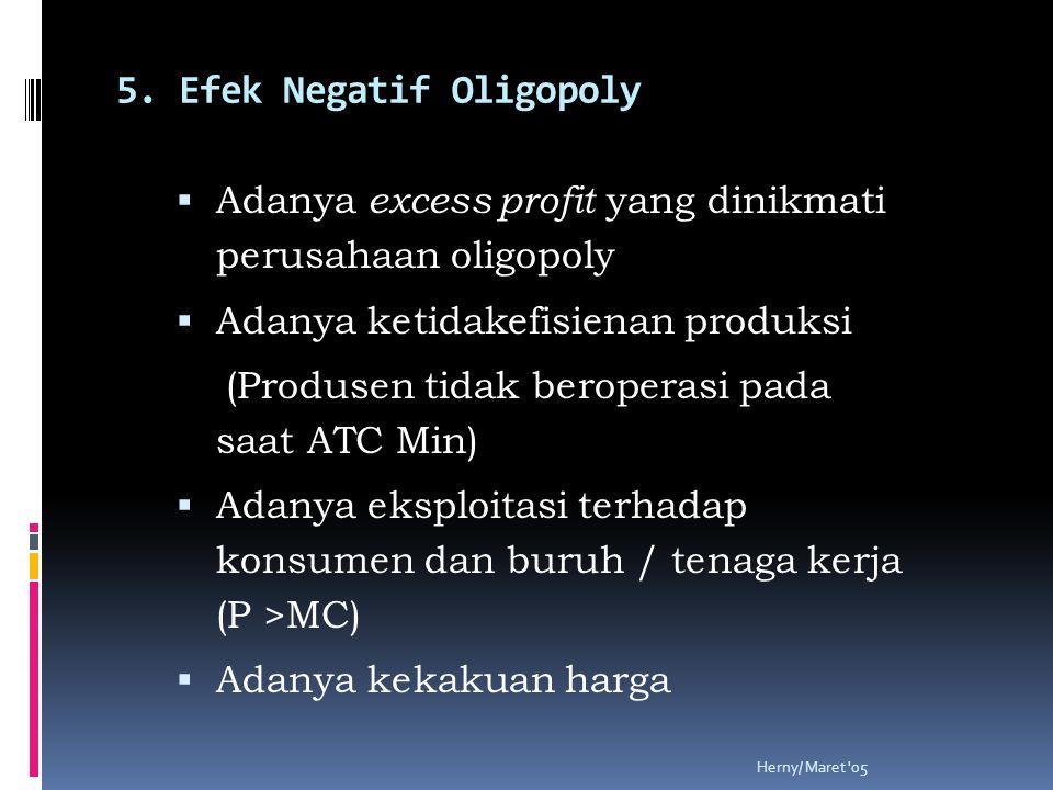 Herny/ Maret '05 5. Efek Negatif Oligopoly  Adanya excess profit yang dinikmati perusahaan oligopoly  Adanya ketidakefisienan produksi (Produsen tid
