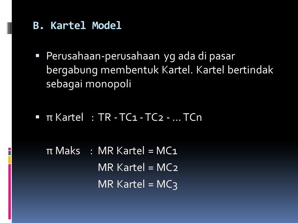 B. Kartel Model  Perusahaan-perusahaan yg ada di pasar bergabung membentuk Kartel. Kartel bertindak sebagai monopoli  π Kartel : TR - TC1 - TC2 - …