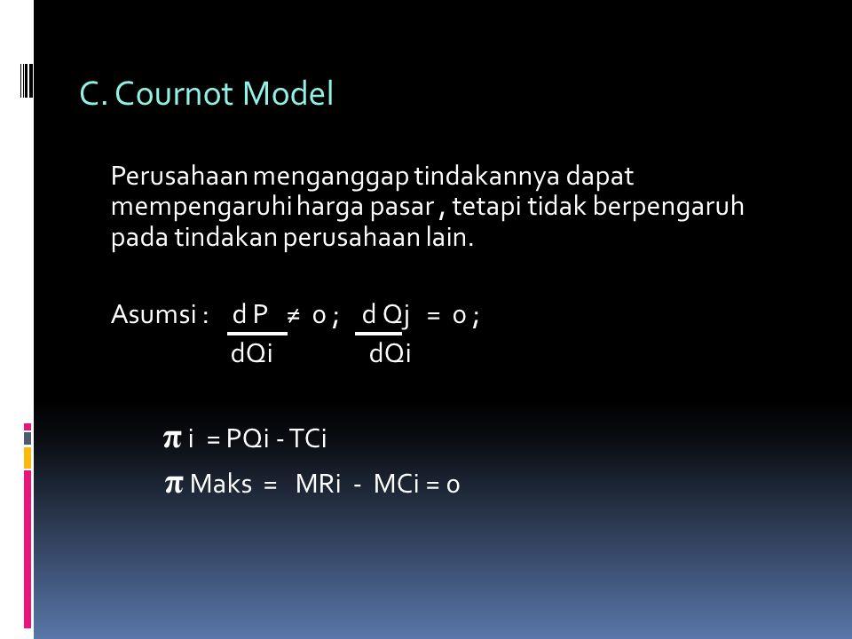 C. Cournot Model Perusahaan menganggap tindakannya dapat mempengaruhi harga pasar, tetapi tidak berpengaruh pada tindakan perusahaan lain. Asumsi : d