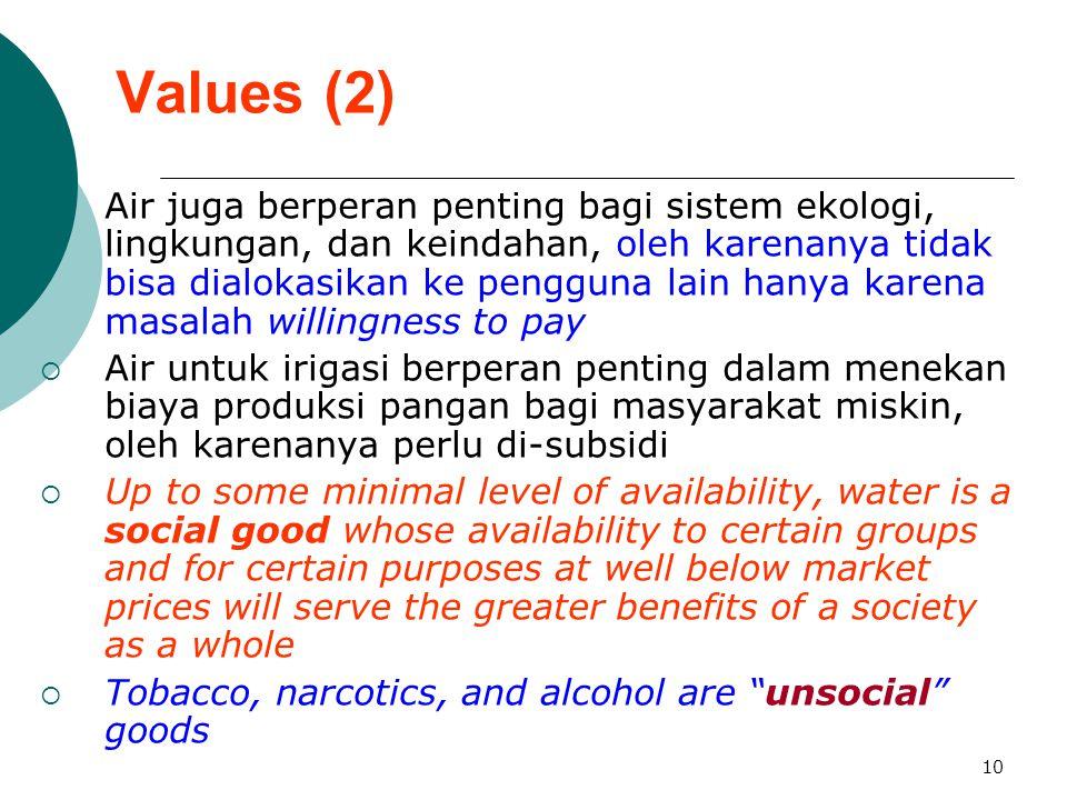 10 Values (2)  Air juga berperan penting bagi sistem ekologi, lingkungan, dan keindahan, oleh karenanya tidak bisa dialokasikan ke pengguna lain hany