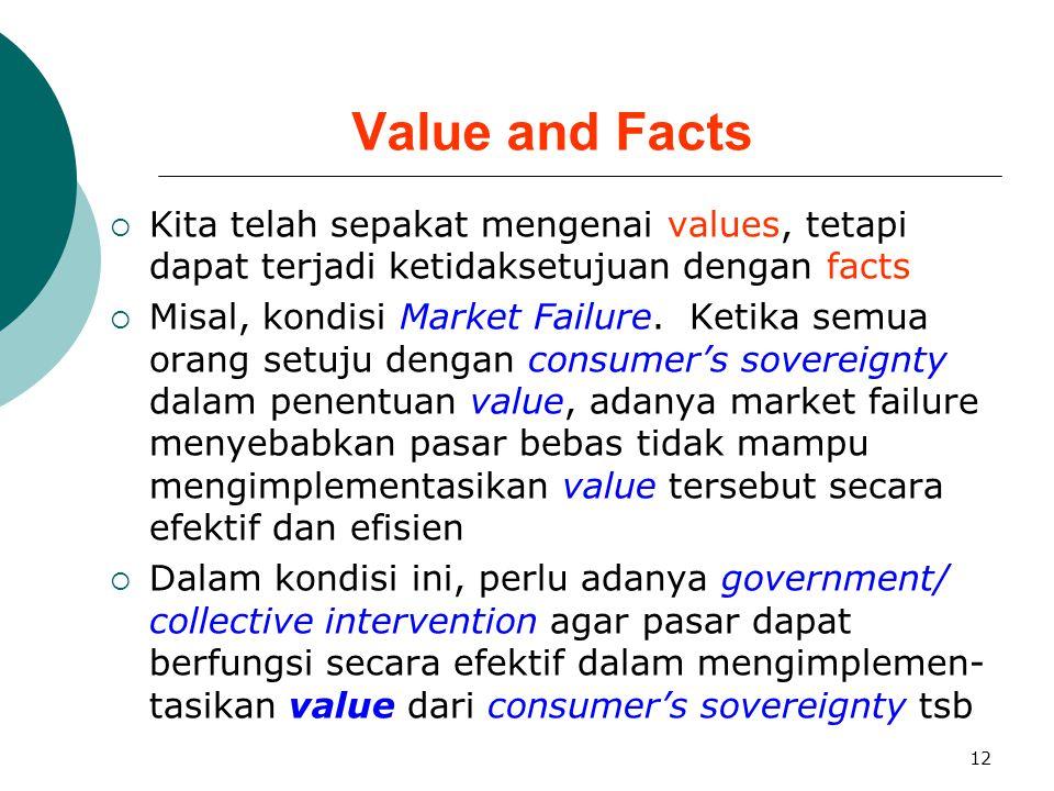 12 Value and Facts  Kita telah sepakat mengenai values, tetapi dapat terjadi ketidaksetujuan dengan facts  Misal, kondisi Market Failure. Ketika sem