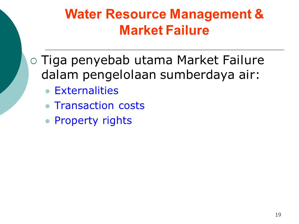 19 Water Resource Management & Market Failure  Tiga penyebab utama Market Failure dalam pengelolaan sumberdaya air: Externalities Transaction costs Property rights