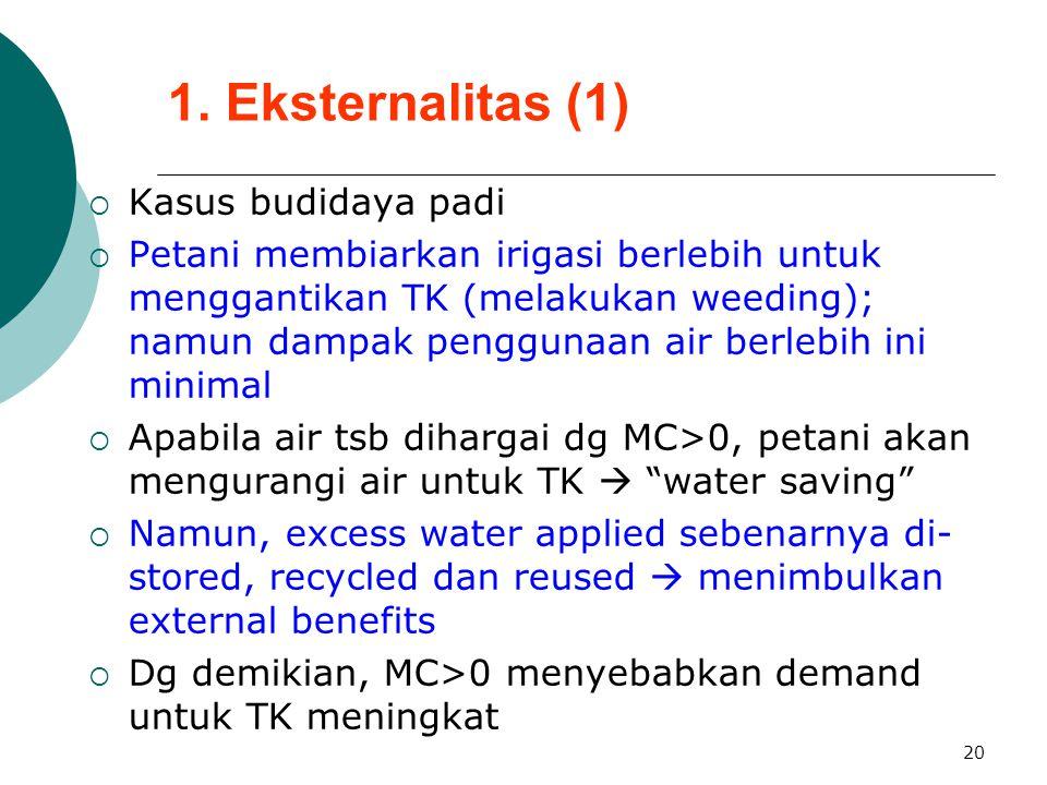20 1. Eksternalitas (1)  Kasus budidaya padi  Petani membiarkan irigasi berlebih untuk menggantikan TK (melakukan weeding); namun dampak penggunaan