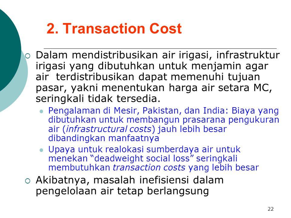22 2. Transaction Cost  Dalam mendistribusikan air irigasi, infrastruktur irigasi yang dibutuhkan untuk menjamin agar air terdistribusikan dapat meme