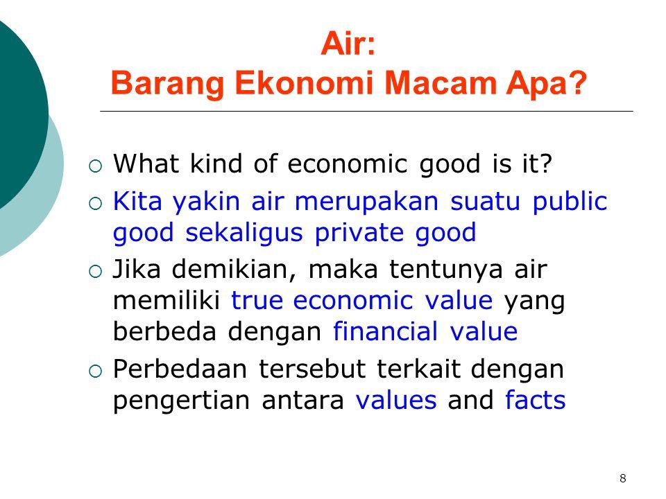 8 Air: Barang Ekonomi Macam Apa?  What kind of economic good is it?  Kita yakin air merupakan suatu public good sekaligus private good  Jika demiki