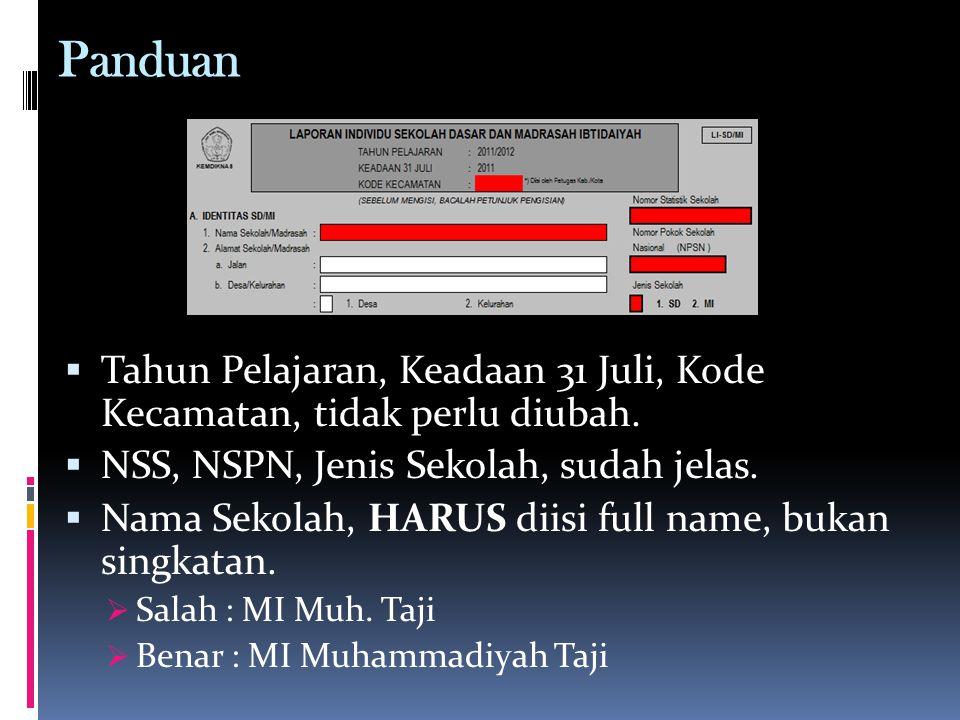 Panduan  Tahun Pelajaran, Keadaan 31 Juli, Kode Kecamatan, tidak perlu diubah.