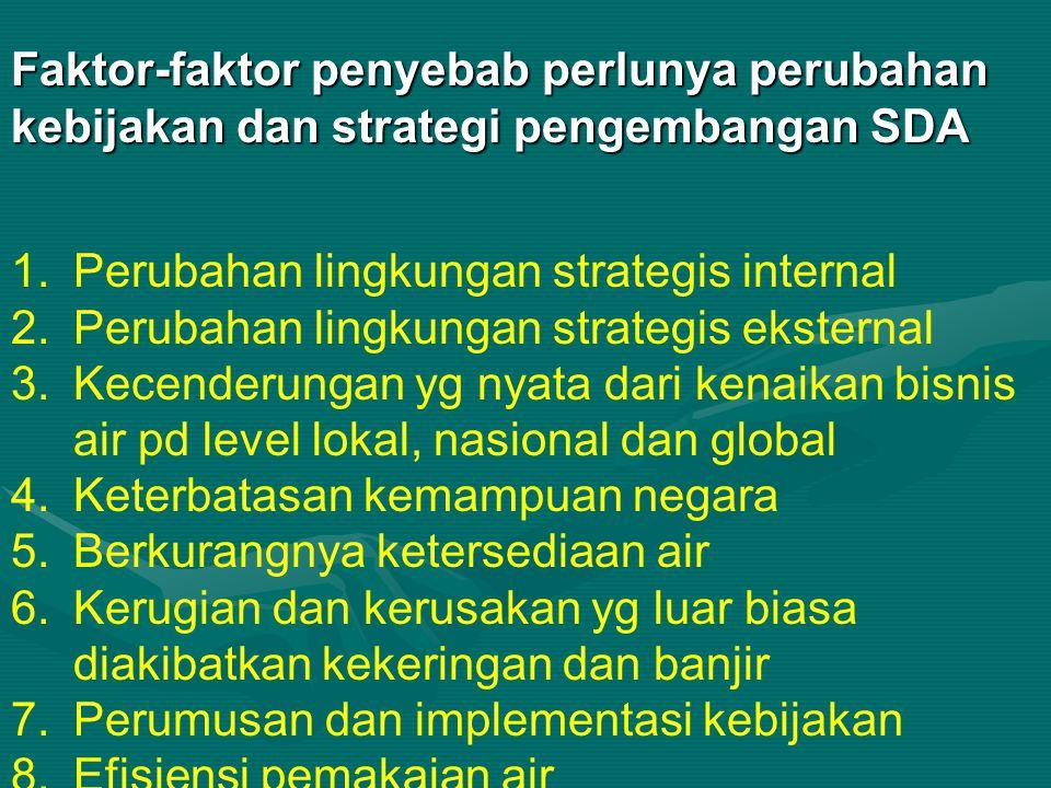 Faktor-faktor penyebab perlunya perubahan kebijakan dan strategi pengembangan SDA 1.Perubahan lingkungan strategis internal 2.Perubahan lingkungan str