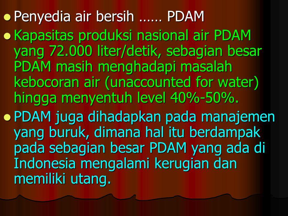 Penyedia air bersih …… PDAM Penyedia air bersih …… PDAM Kapasitas produksi nasional air PDAM yang 72.000 liter/detik, sebagian besar PDAM masih mengha