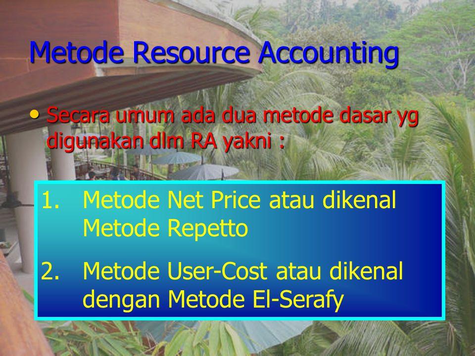 Metode Resource Accounting Secara umum ada dua metode dasar yg digunakan dlm RA yakni : Secara umum ada dua metode dasar yg digunakan dlm RA yakni : 1