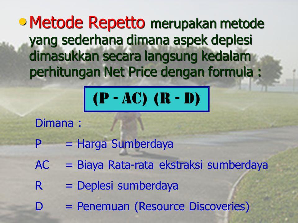 Metode Repetto merupakan metode yang sederhana dimana aspek deplesi dimasukkan secara langsung kedalam perhitungan Net Price dengan formula : Metode R