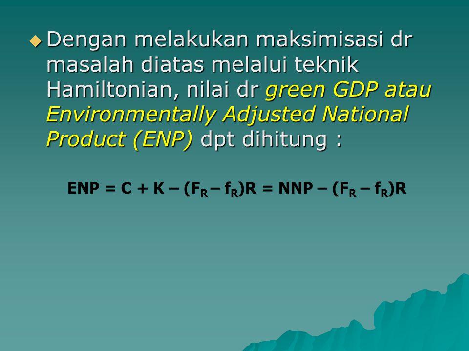  Dengan melakukan maksimisasi dr masalah diatas melalui teknik Hamiltonian, nilai dr green GDP atau Environmentally Adjusted National Product (ENP) d