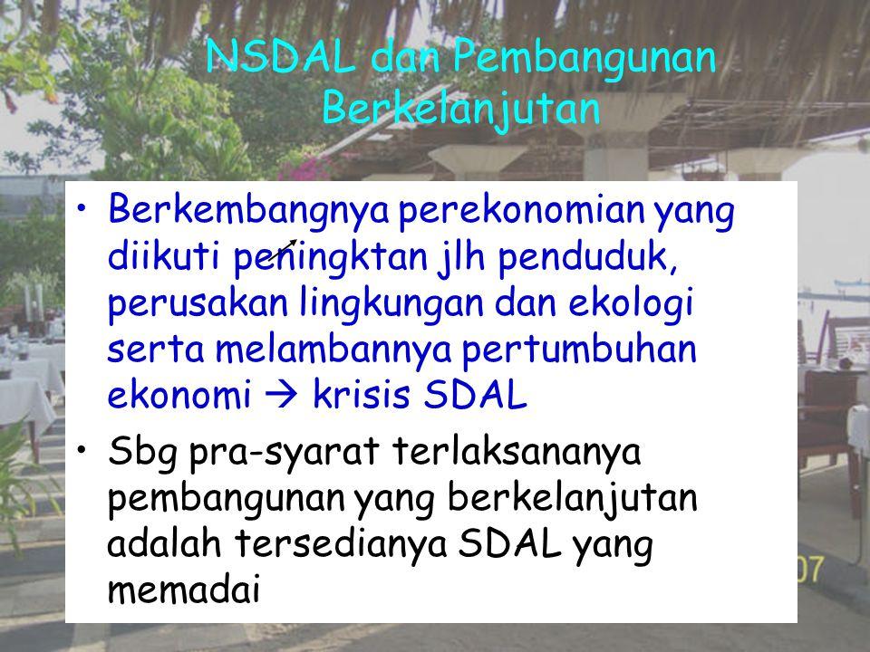 NSDAL dan Pembangunan Berkelanjutan Berkembangnya perekonomian yang diikuti peningktan jlh penduduk, perusakan lingkungan dan ekologi serta melambanny