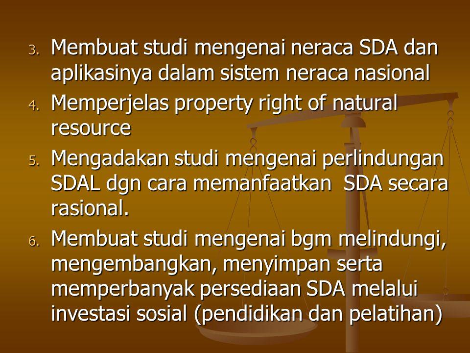 3. Membuat studi mengenai neraca SDA dan aplikasinya dalam sistem neraca nasional 4. Memperjelas property right of natural resource 5. Mengadakan stud