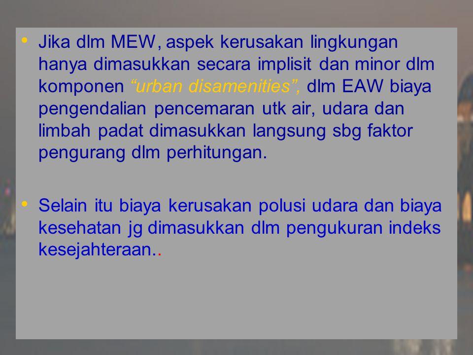 Cobb and Cobb (1994) mengusulkan digunakannya pengukuran baru yg disebut Index of Sustainable Economic Welfare (ISEW) Cobb and Cobb (1994) mengusulkan digunakannya pengukuran baru yg disebut Index of Sustainable Economic Welfare (ISEW)  ISEW merupakan ekstensi dari MEW dan EAW dgn bbrp penyesuaian  Dlm ISEW tdk hanya deplesi sumberdaya mineral yg dihitung, namun jg deplesi dari lahan basah (wetland) dan lahan-lahan pertanian.