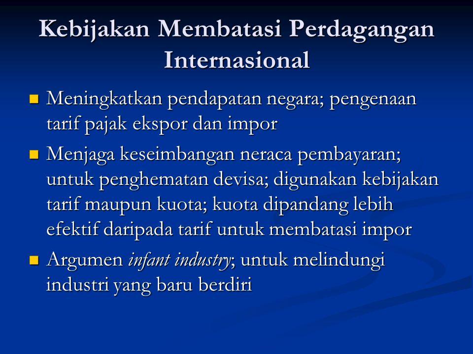 Kebijakan Membatasi Perdagangan Internasional Meningkatkan pendapatan negara; pengenaan tarif pajak ekspor dan impor Meningkatkan pendapatan negara; p