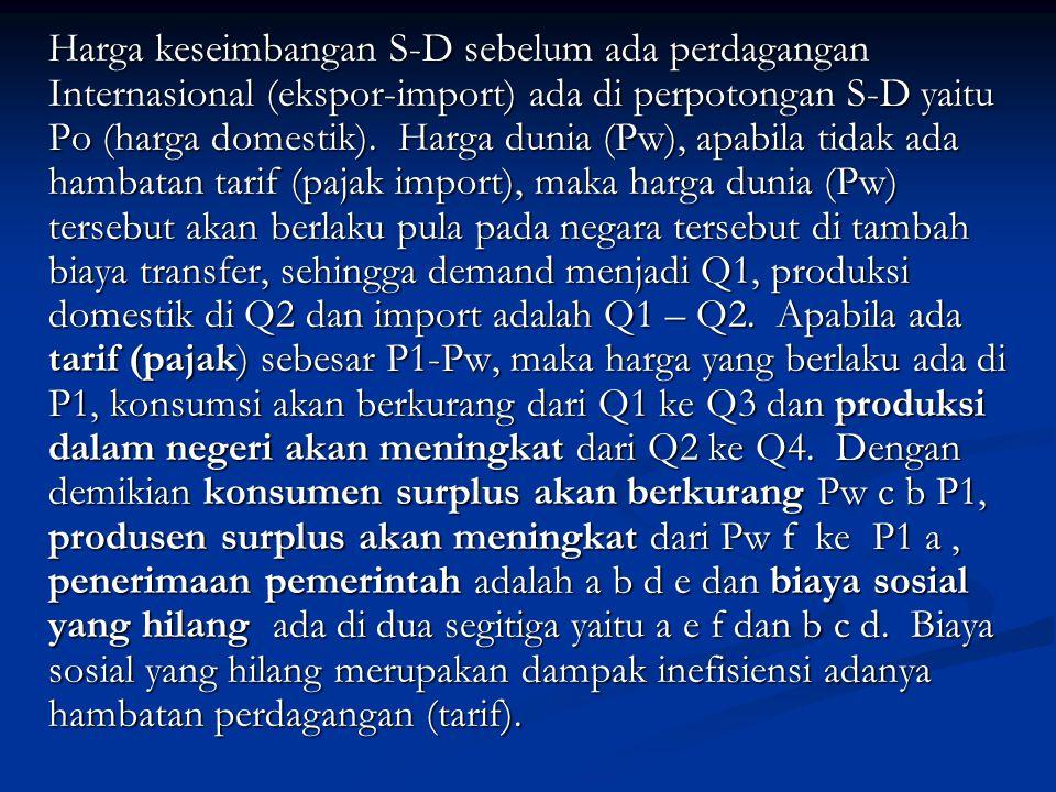 Harga keseimbangan S-D sebelum ada perdagangan Internasional (ekspor-import) ada di perpotongan S-D yaitu Po (harga domestik). Harga dunia (Pw), apabi