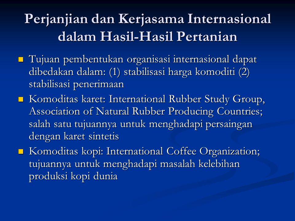 Perjanjian dan Kerjasama Internasional dalam Hasil-Hasil Pertanian Tujuan pembentukan organisasi internasional dapat dibedakan dalam: (1) stabilisasi