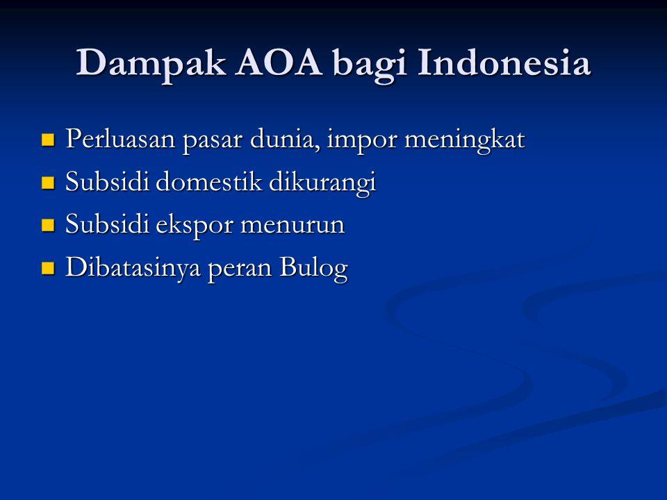 Dampak AOA bagi Indonesia Perluasan pasar dunia, impor meningkat Perluasan pasar dunia, impor meningkat Subsidi domestik dikurangi Subsidi domestik di