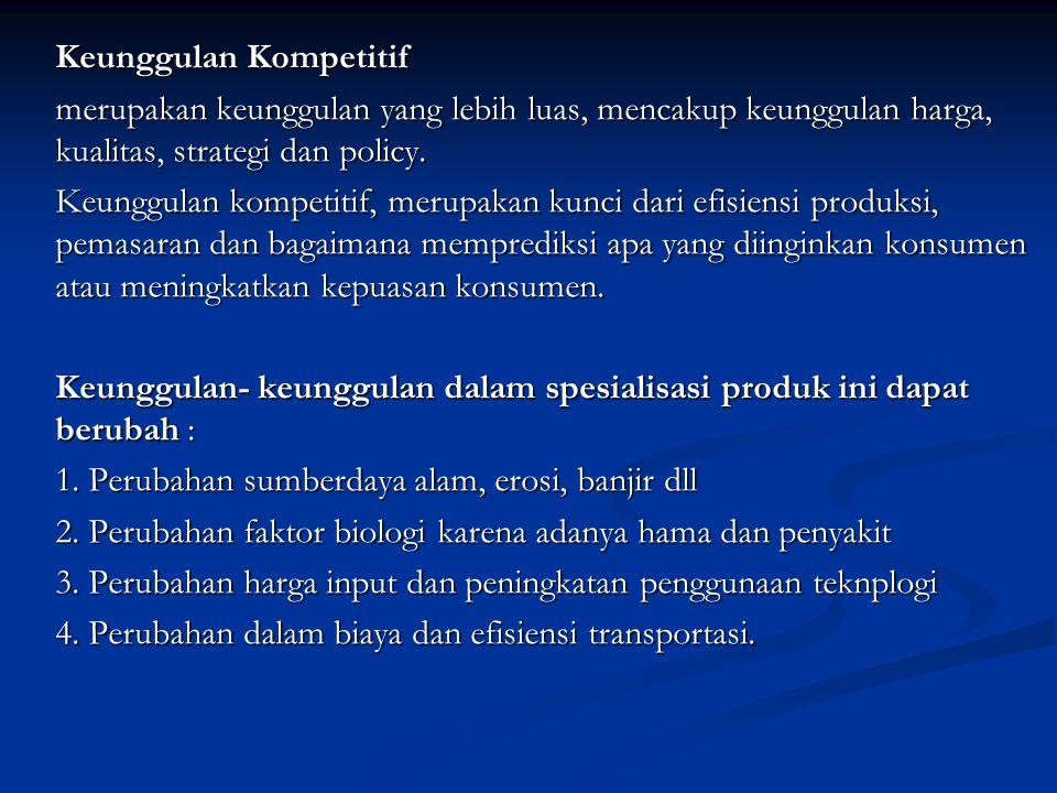 Keunggulan Kompetitif merupakan keunggulan yang lebih luas, mencakup keunggulan harga, kualitas, strategi dan policy. Keunggulan kompetitif, merupakan