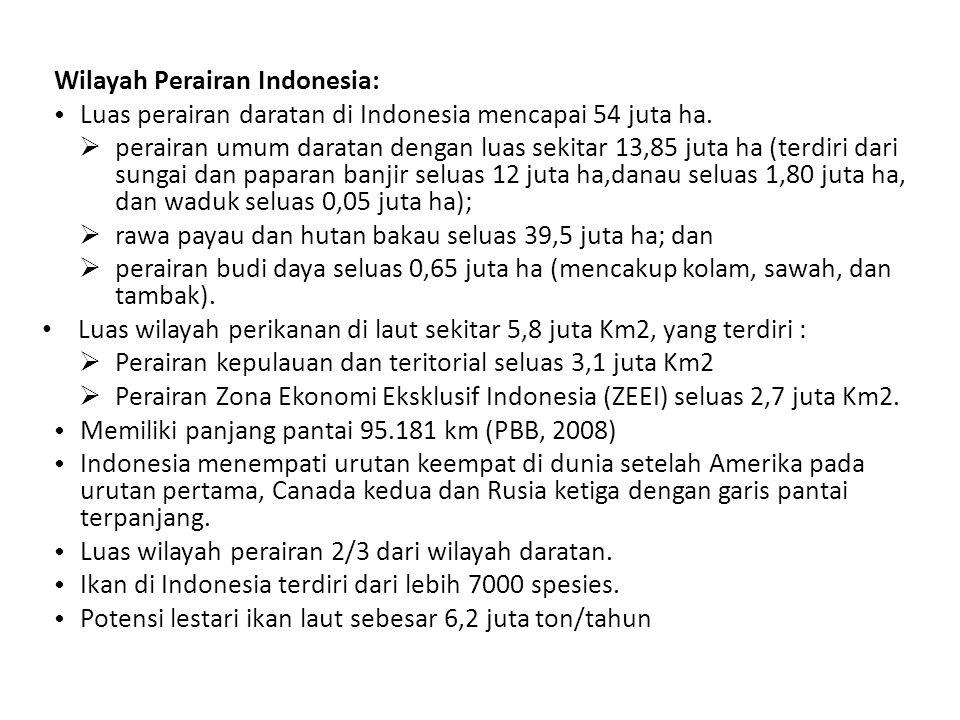 Wilayah Perairan Indonesia: Luas perairan daratan di Indonesia mencapai 54 juta ha.