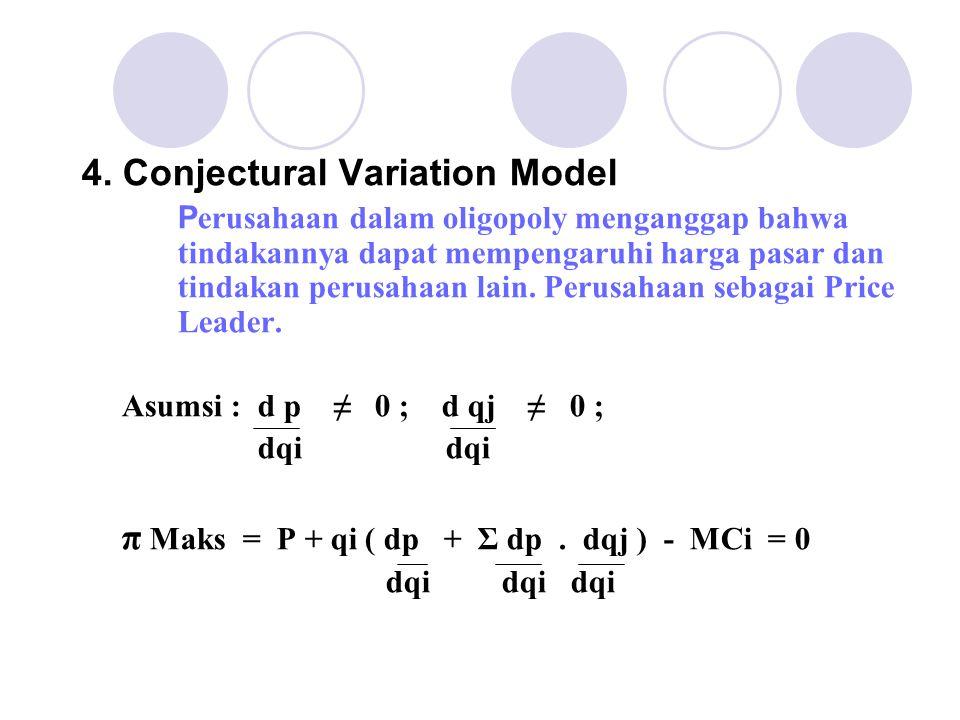 4. Conjectural Variation Model P erusahaan dalam oligopoly menganggap bahwa tindakannya dapat mempengaruhi harga pasar dan tindakan perusahaan lain. P