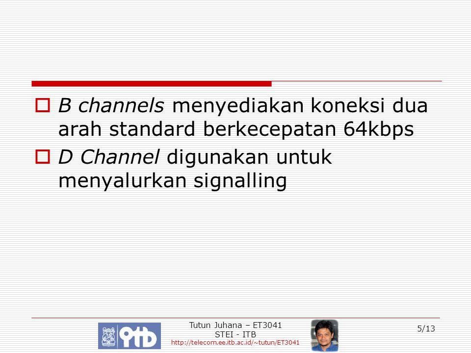 Tutun Juhana – ET3041 STEI - ITB http://telecom.ee.itb.ac.id/~tutun/ET3041 5/13  B channels menyediakan koneksi dua arah standard berkecepatan 64kbps