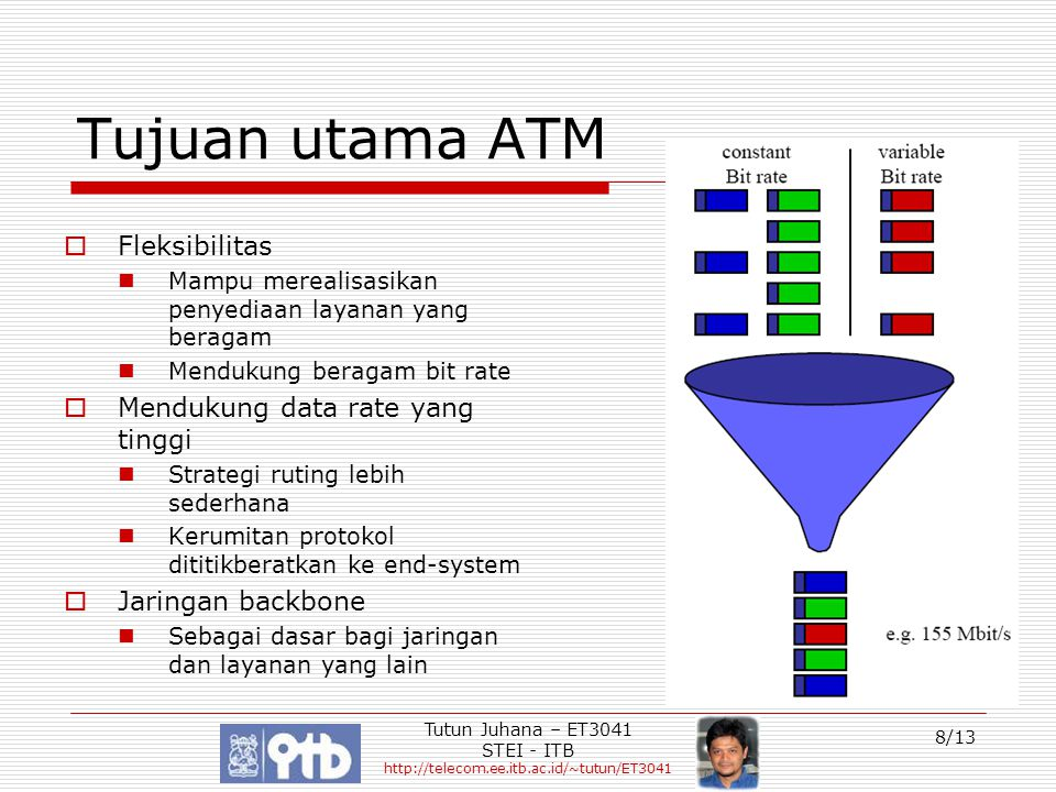 Tutun Juhana – ET3041 STEI - ITB http://telecom.ee.itb.ac.id/~tutun/ET3041 9/13 Layer Protokol ATM  Physical layer (PHL) Physical Medium Dependant Sub-Layer (PMD)  Mentransfer aliran bit  Biasanya menggunakan sistem SONET/SDH Transmission Convergence Sub-layer (TC)  Pembentukan/pemecahan frame  Pembentukan/pengenalan sel data  Kopling laju transmisi sel data  ATM Layer Mengangkut sel ATM Pengalamatan koneksi virtual Multiplexing sel ATM Pengendalian aliran (flow control) dan pengendalian akes  ATM Adaption Layer (AAL) Segmentation and Reassembly Sub-Layer (SAR)  Segmentasi dan reassembly data user Convergence sub-layer (CS)  Mendukung beberapa level layanan