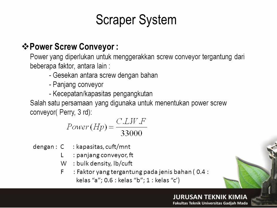Scraper System  Power Screw Conveyor : Power yang diperlukan untuk menggerakkan screw conveyor tergantung dari beberapa faktor, antara lain : - Gesek
