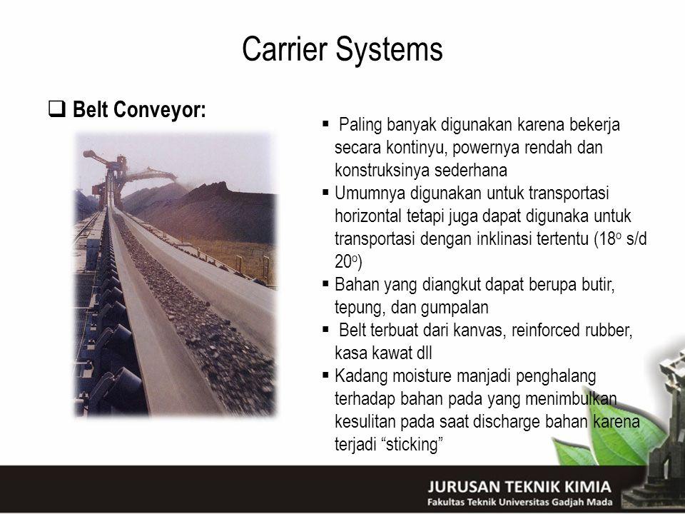 Carrier Systems  Belt Conveyor:  Paling banyak digunakan karena bekerja secara kontinyu, powernya rendah dan konstruksinya sederhana  Umumnya digun