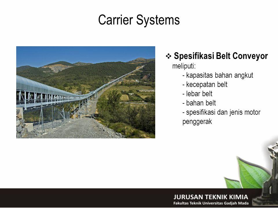 Carrier Systems  Spesifikasi Belt Conveyor meliputi: - kapasitas bahan angkut - kecepatan belt - lebar belt - bahan belt - spesifikasi dan jenis moto