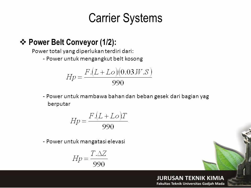 Carrier Systems  Power Belt Conveyor (1/2): Power total yang diperlukan terdiri dari: - Power untuk mengangkut belt kosong - Power untuk mambawa baha