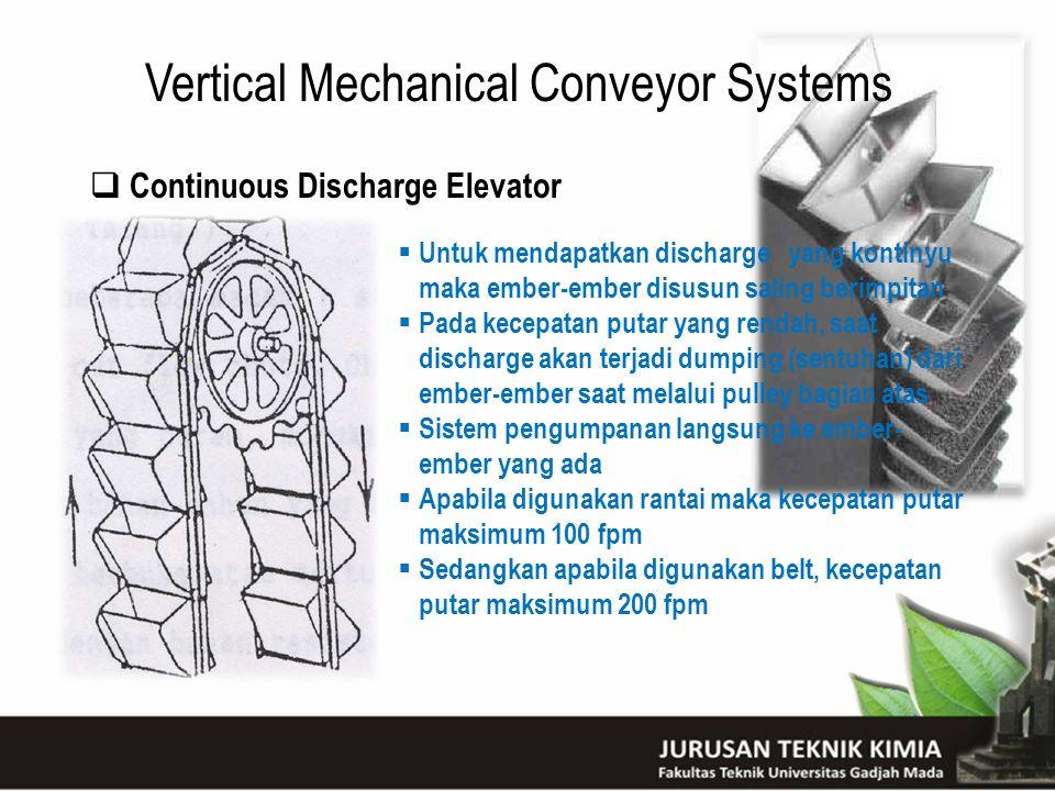 Vertical Mechanical Conveyor Systems  Continuous Discharge Elevator  Untuk mendapatkan discharge yang kontinyu maka ember-ember disusun saling berim