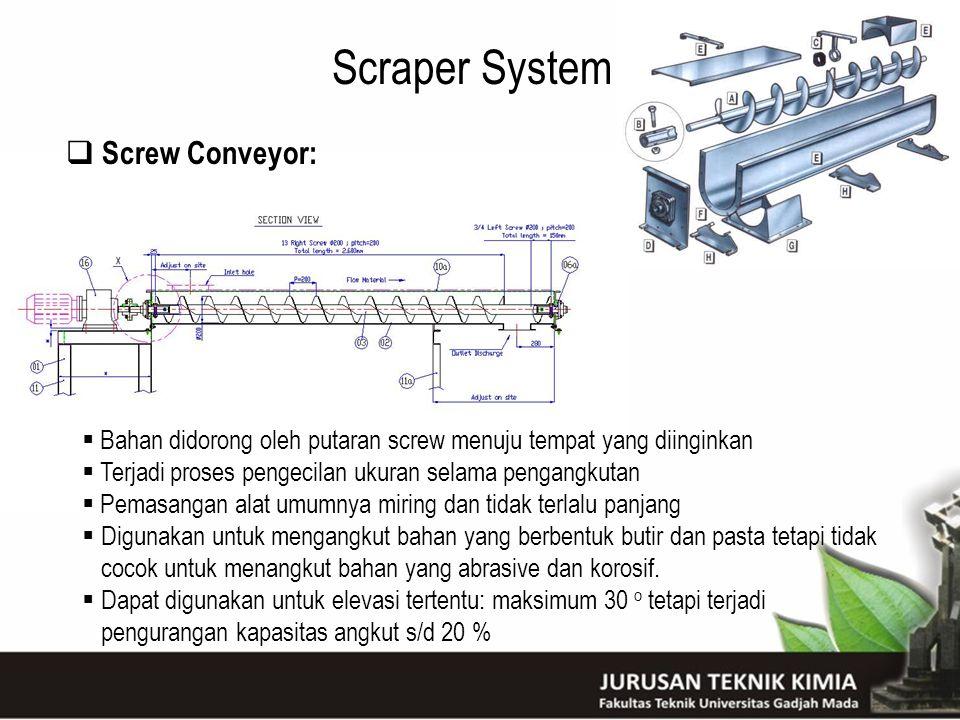 Scraper System  Screw Conveyor:  Bahan didorong oleh putaran screw menuju tempat yang diinginkan  Terjadi proses pengecilan ukuran selama pengangku