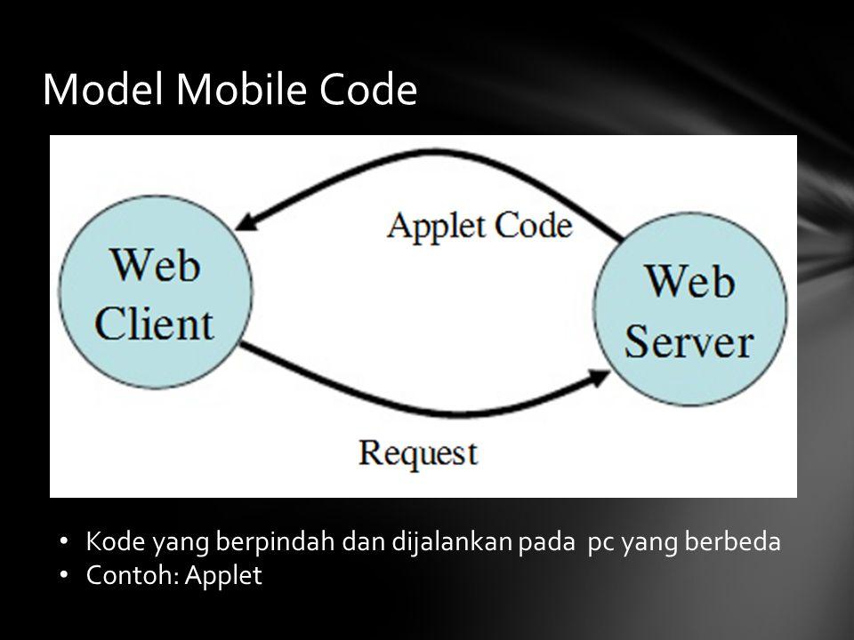 Model Mobile Code Kode yang berpindah dan dijalankan pada pc yang berbeda Contoh: Applet
