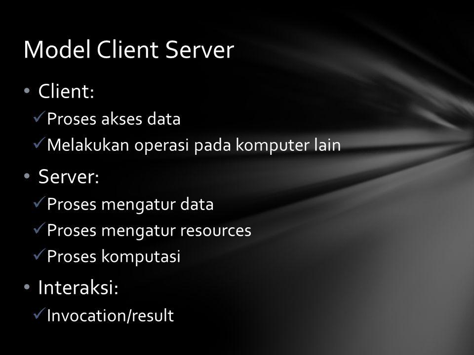 Client: Proses akses data Melakukan operasi pada komputer lain Server: Proses mengatur data Proses mengatur resources Proses komputasi Interaksi: Invocation/result Model Client Server