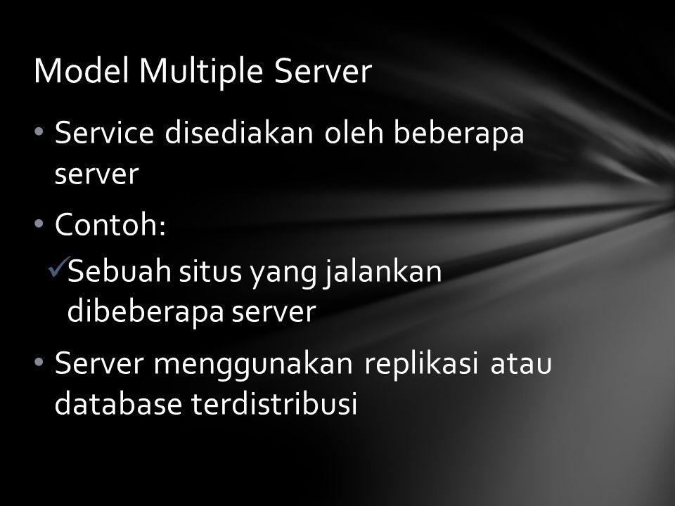 Service disediakan oleh beberapa server Contoh: Sebuah situs yang jalankan dibeberapa server Server menggunakan replikasi atau database terdistribusi Model Multiple Server