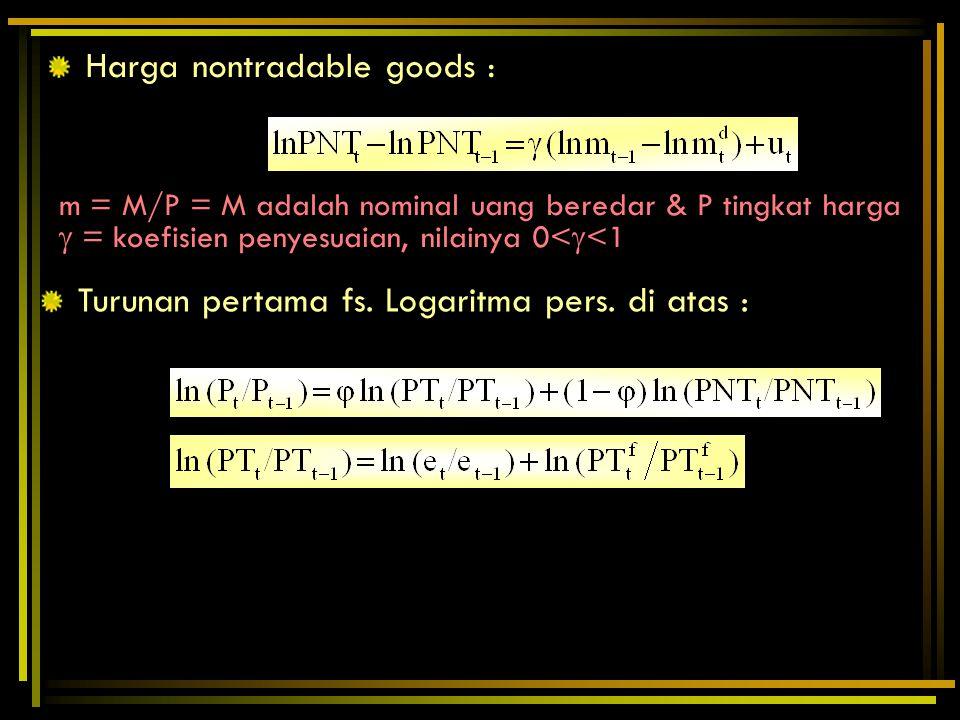 Harga nontradable goods : m = M/P = M adalah nominal uang beredar & P tingkat harga  = koefisien penyesuaian, nilainya 0<  <1 Turunan pertama fs. Lo
