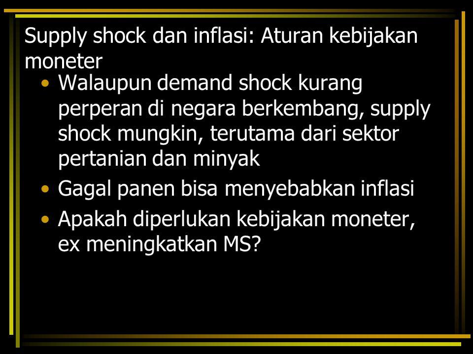 Supply shock dan inflasi: Aturan kebijakan moneter Walaupun demand shock kurang perperan di negara berkembang, supply shock mungkin, terutama dari sek