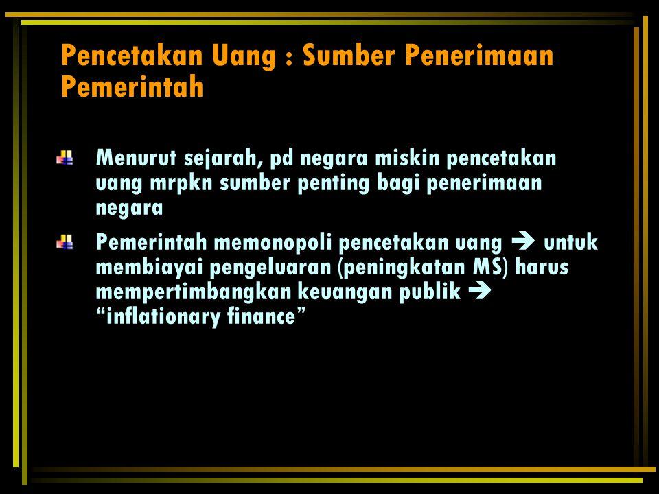 Pencetakan Uang : Sumber Penerimaan Pemerintah Seigniorage & The Inflation Tax Sr : Seigniorage P : tingkat harga MB : persediaan uang dMB/MB= μ = pertumbuhan money base dm=perubahan real money balance  : tkt inflasi