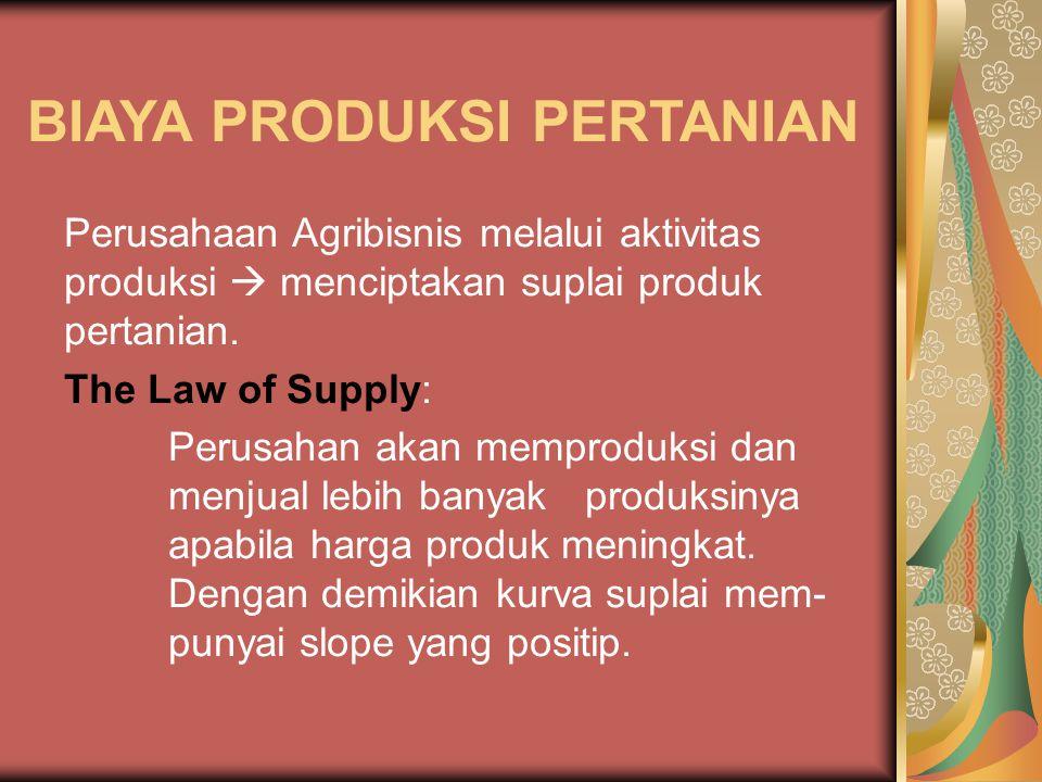 BIAYA PRODUKSI PERTANIAN Perusahaan Agribisnis melalui aktivitas produksi  menciptakan suplai produk pertanian. The Law of Supply: Perusahan akan mem