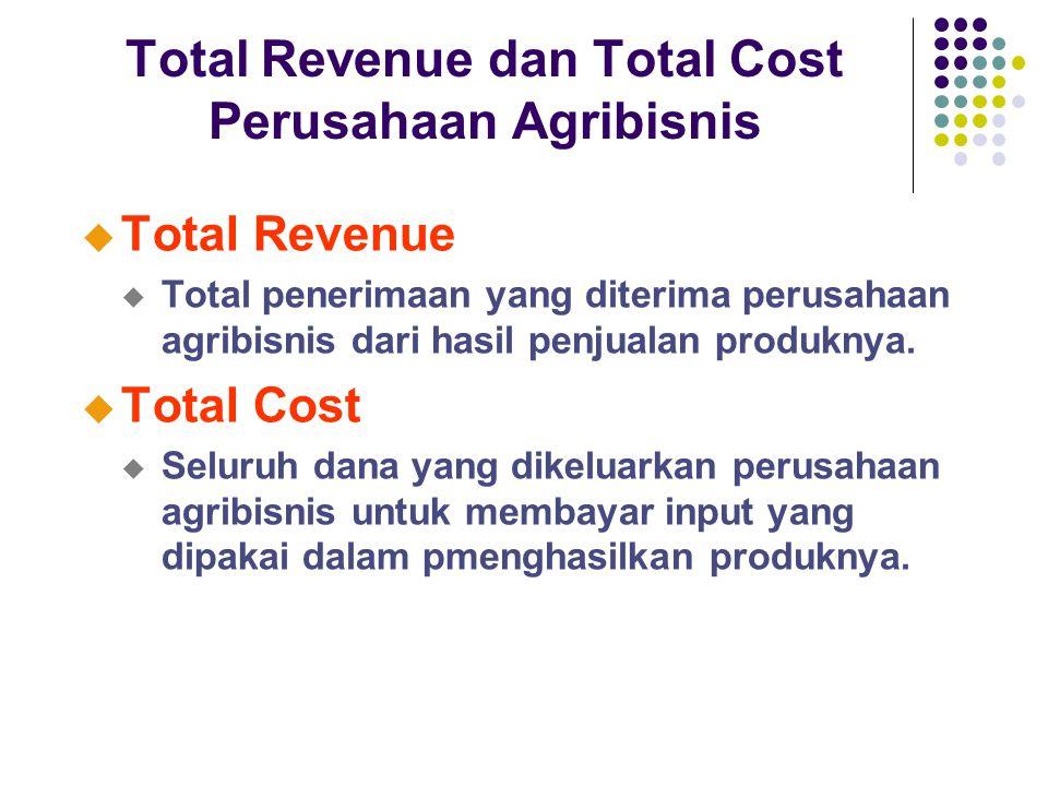 Total Revenue dan Total Cost Perusahaan Agribisnis u Total Revenue u Total penerimaan yang diterima perusahaan agribisnis dari hasil penjualan produknya.