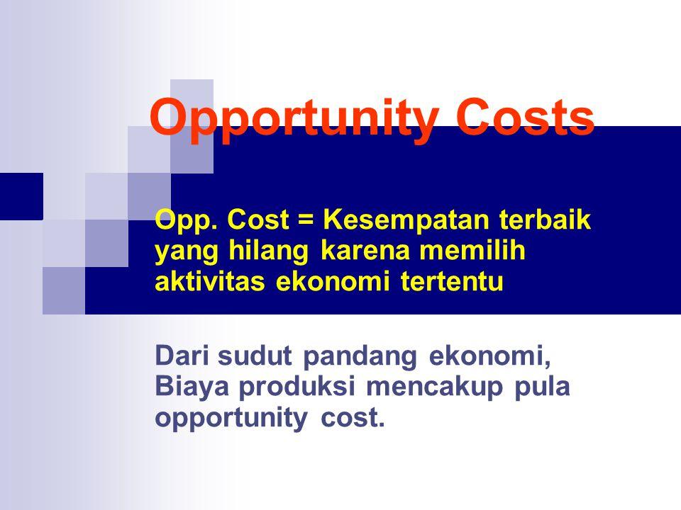 Opportunity Costs Opp. Cost = Kesempatan terbaik yang hilang karena memilih aktivitas ekonomi tertentu Dari sudut pandang ekonomi, Biaya produksi menc
