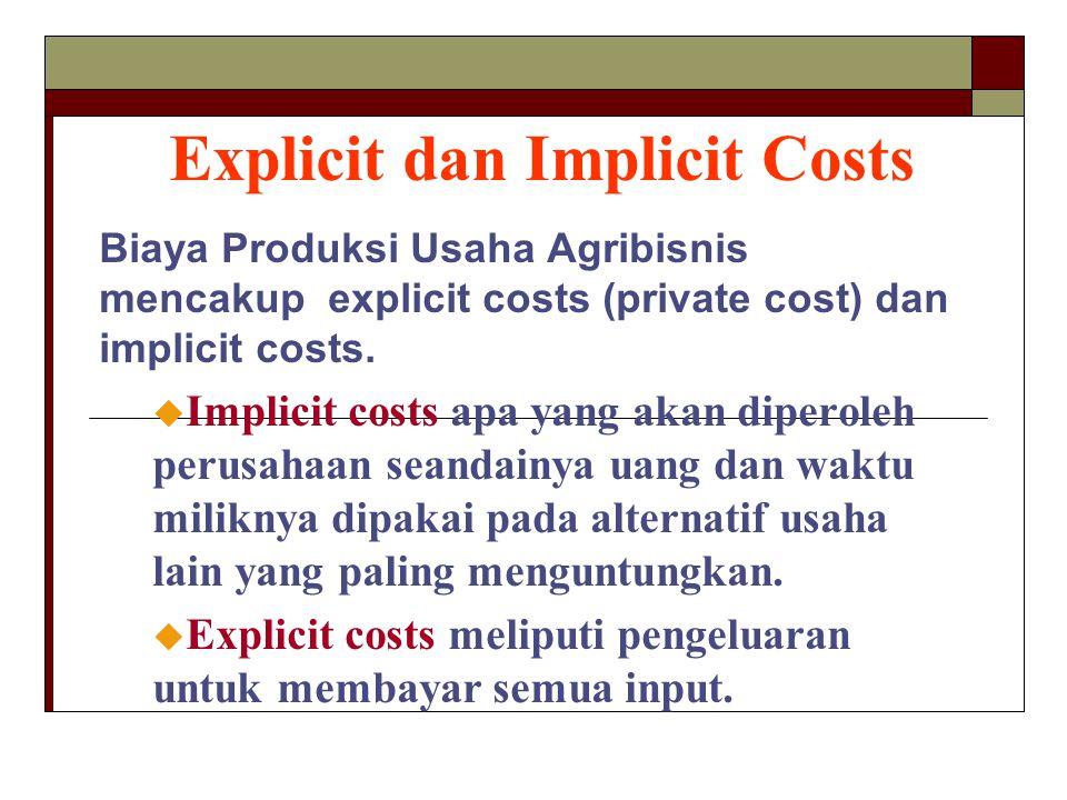 Explicit dan Implicit Costs Biaya Produksi Usaha Agribisnis mencakup explicit costs (private cost) dan implicit costs. u Implicit costs apa yang akan