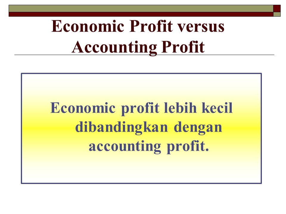 Economic Profit versus Accounting Profit Economic profit lebih kecil dibandingkan dengan accounting profit.