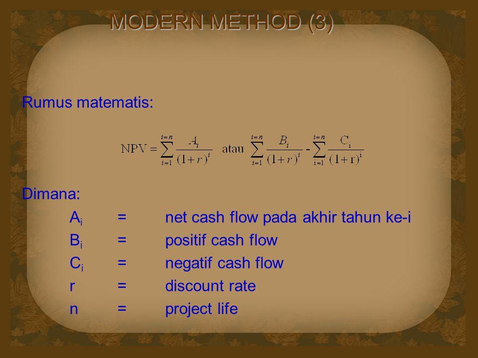 MODERN METHOD (3) Rumus matematis: Dimana: A i =net cash flow pada akhir tahun ke-i B i =positif cash flow C i =negatif cash flow r=discount rate n=project life