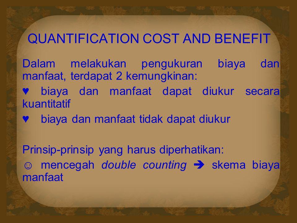 QUANTIFICATION COST AND BENEFIT Dalam melakukan pengukuran biaya dan manfaat, terdapat 2 kemungkinan: ♥biaya dan manfaat dapat diukur secara kuantitatif ♥biaya dan manfaat tidak dapat diukur Prinsip-prinsip yang harus diperhatikan: ☺mencegah double counting  skema biaya manfaat