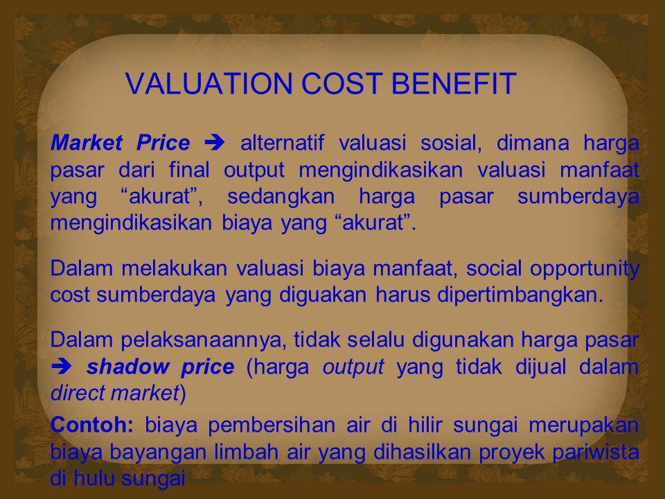 """VALUATION COST BENEFIT Market Price  alternatif valuasi sosial, dimana harga pasar dari final output mengindikasikan valuasi manfaat yang """"akurat"""", s"""