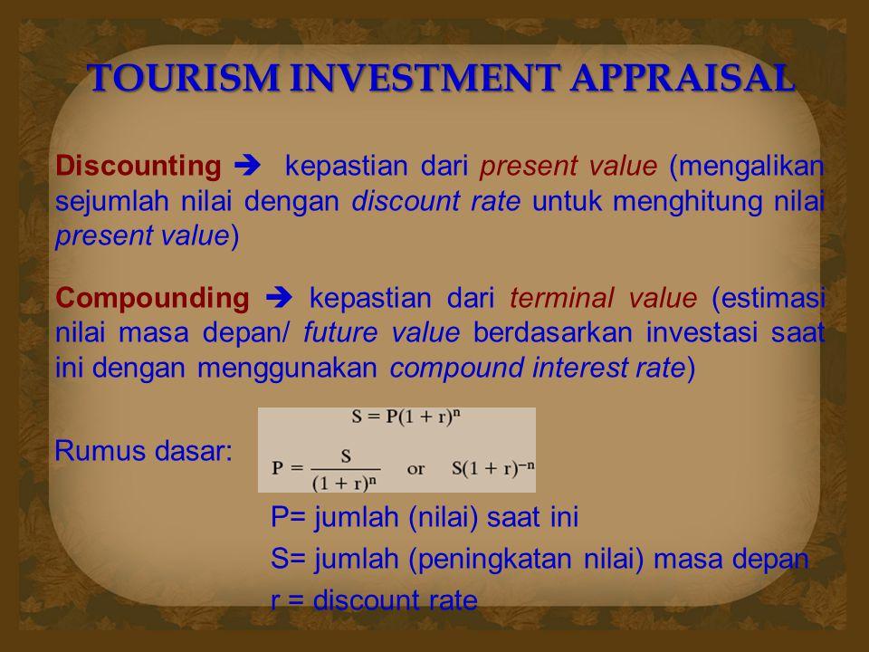 TOURISM INVESTMENT APPRAISAL Discounting  kepastian dari present value (mengalikan sejumlah nilai dengan discount rate untuk menghitung nilai present