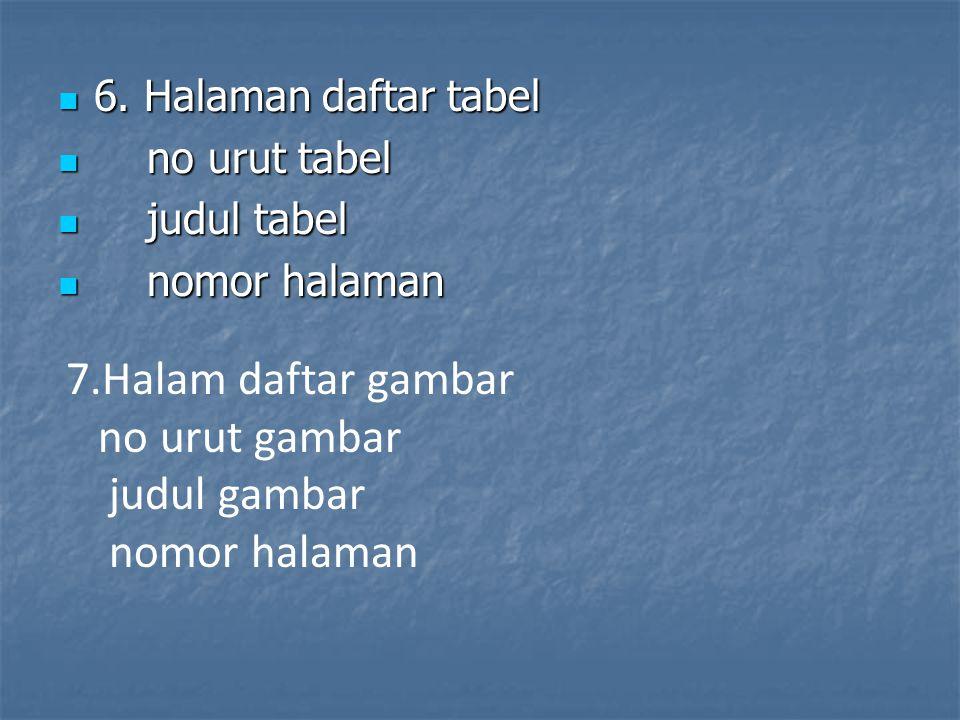6. Halaman daftar tabel 6. Halaman daftar tabel no urut tabel no urut tabel judul tabel judul tabel nomor halaman nomor halaman 7.Halam daftar gambar
